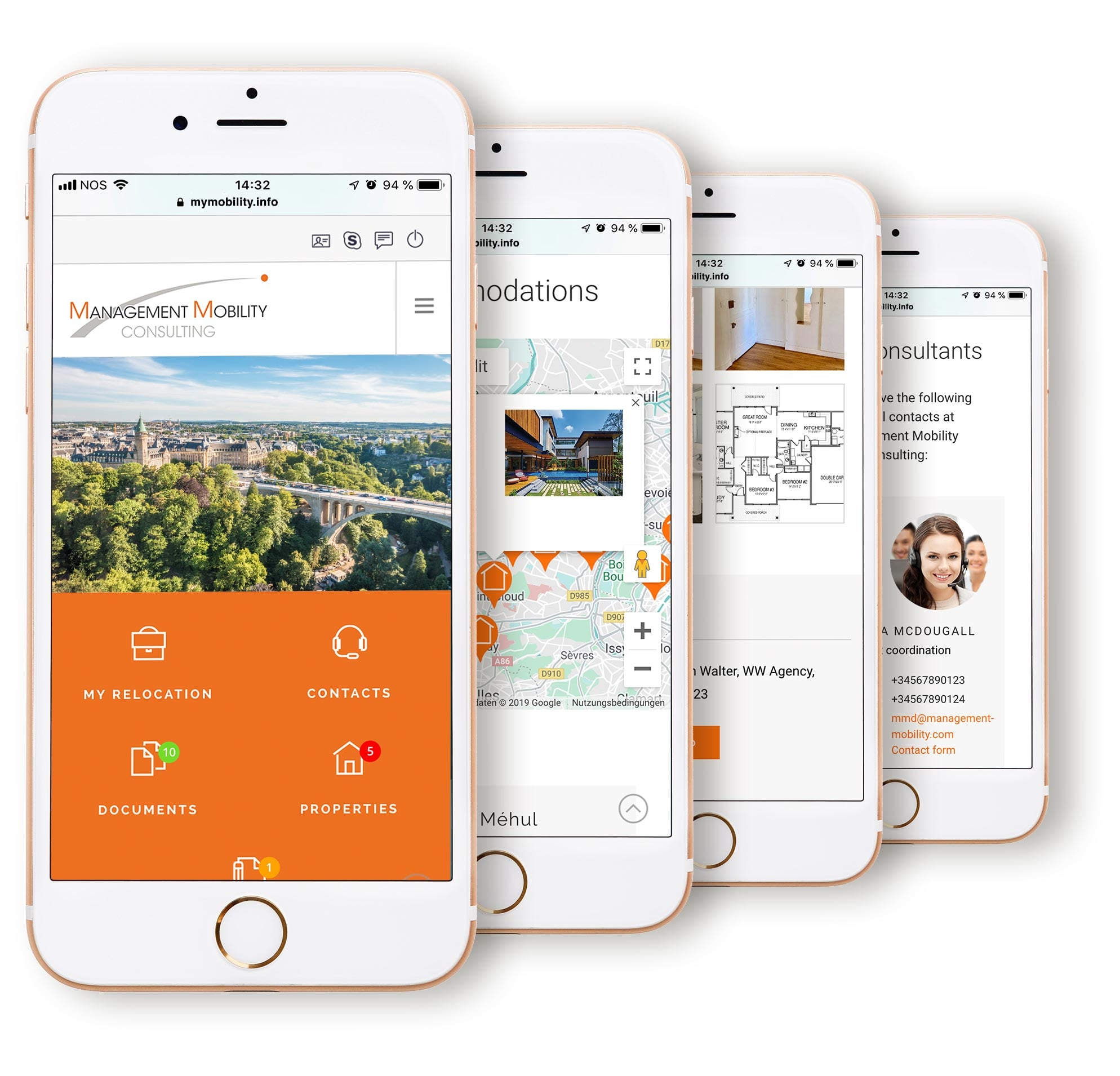 MyMobility on iPhone screens